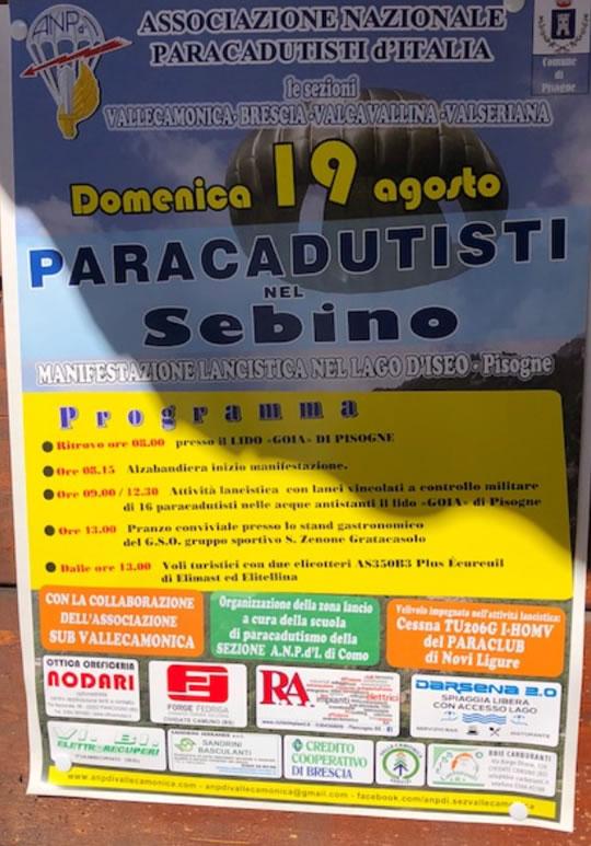 Paracadutisti nel Sebino
