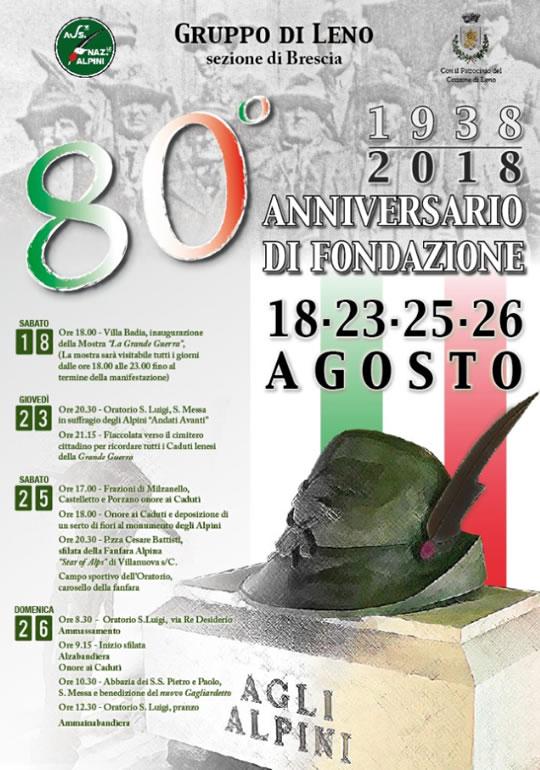 80 Anniversario fondazione Gruppo Alpini Leno