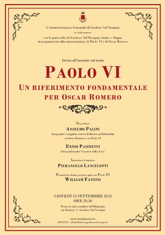 Paolo VI un riferimento fondamentale per Oscar Romero a Gardone VT
