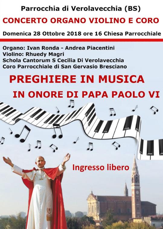 Concerto organo violino e coro a Verolavecchia