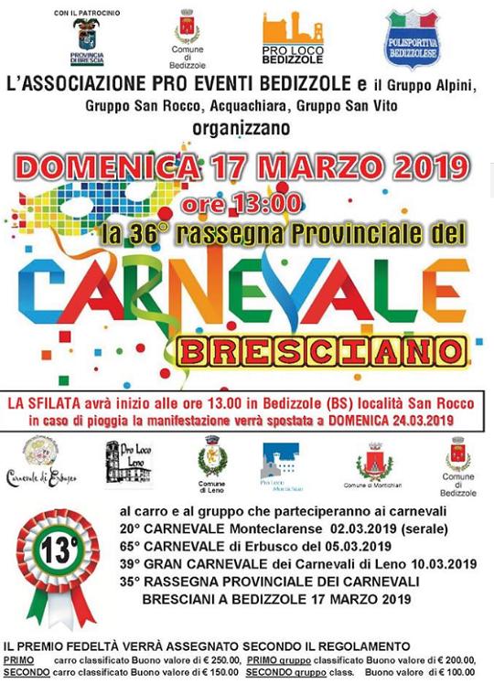 36 Rassegna Provinciale del Carnevale Bresciano a Bedizzole