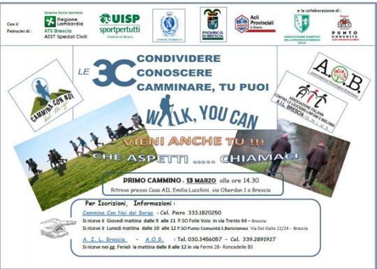 Le 3C Condividere Conoscere Camminare, tu puoi a Brescia