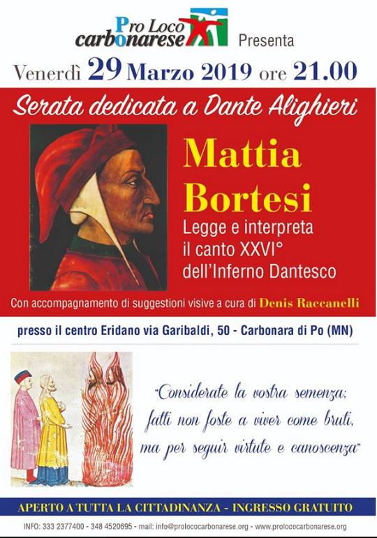 Serata dedicata a Dante Alighieri a Carbonara di Po MN