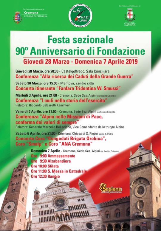 Festa Sezionale 90 Anniversario di Fondazione Alpini a Cremona