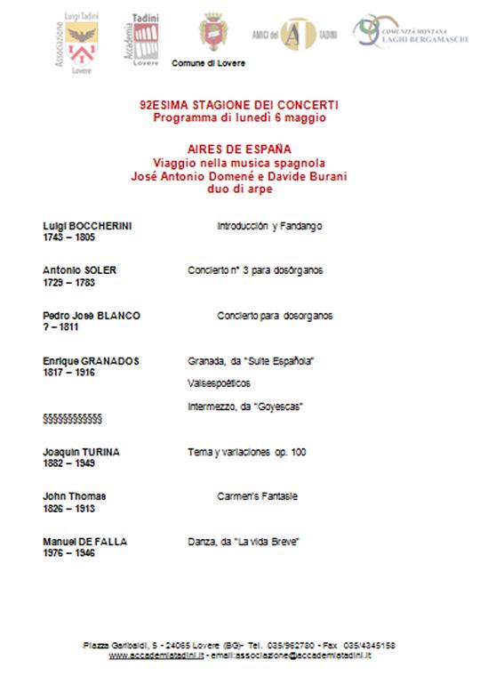 Stagione dei Concerti dell'Accademia Tadini a Lovere BG