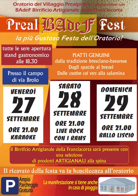 Preal Badef Fest al Villaggio Prealpino