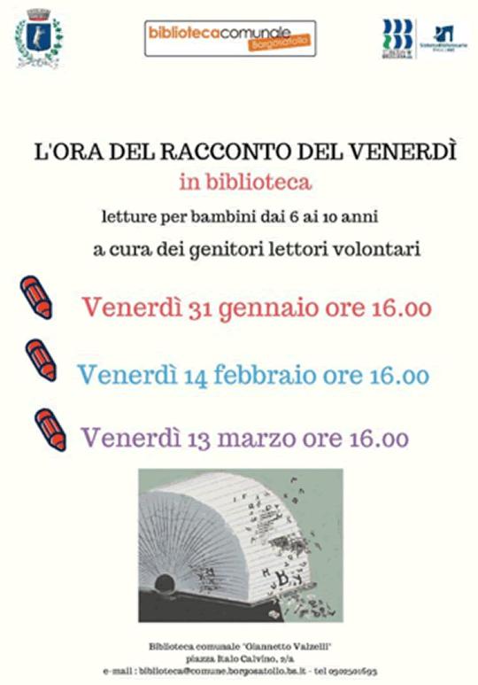 L'ora del racconto del venerdì in biblioteca a Borgosatollo