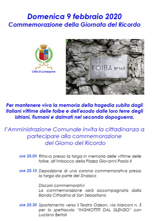 Commermorazione della Giornata del Ricordo a Lumezzane