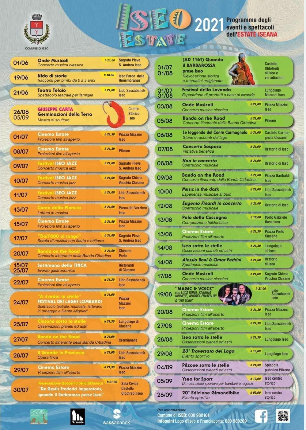 eventi estate 2021 a Iseo